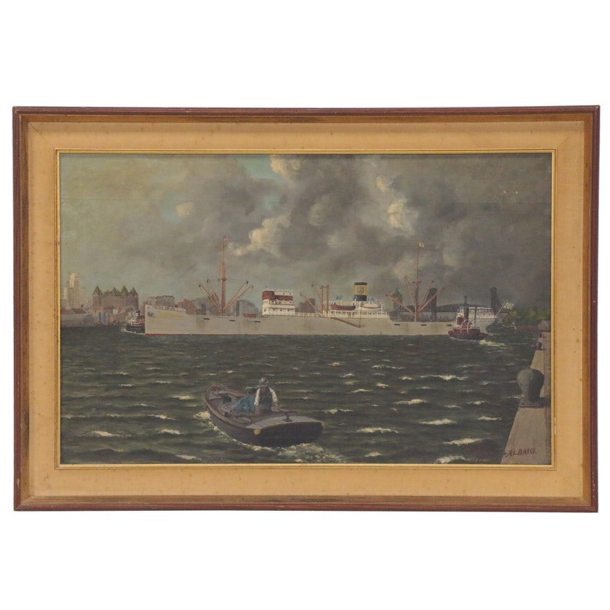 Albany Harbor Scene Oil Painting, 1948
