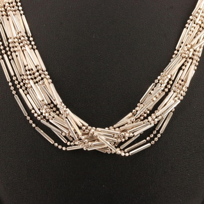 Milor Sterling Silver Multi-Strand Link Necklace