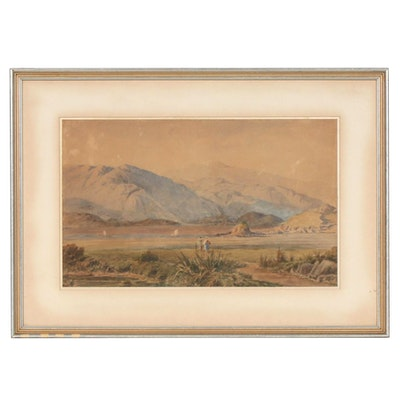 George Westmacott Mountain Landscape Watercolor Painting, Early 20th Century