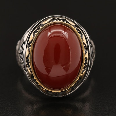 Two Tone Sterling Silver Carnelian Ring