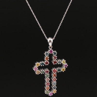 Sterling Silver Sapphire Cross Pendant Necklace