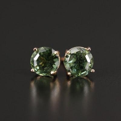 14K Rose Gold Diopside Stud Earrings