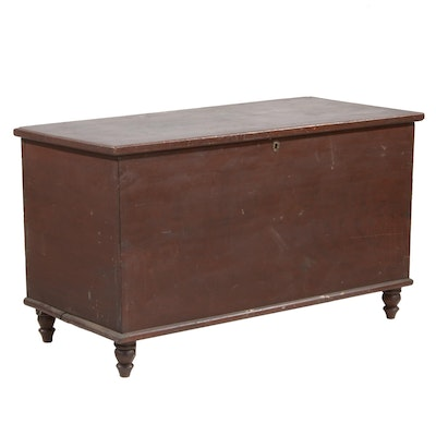 Painted Six Board Poplar Blanket Chest with Candle Box, Antique