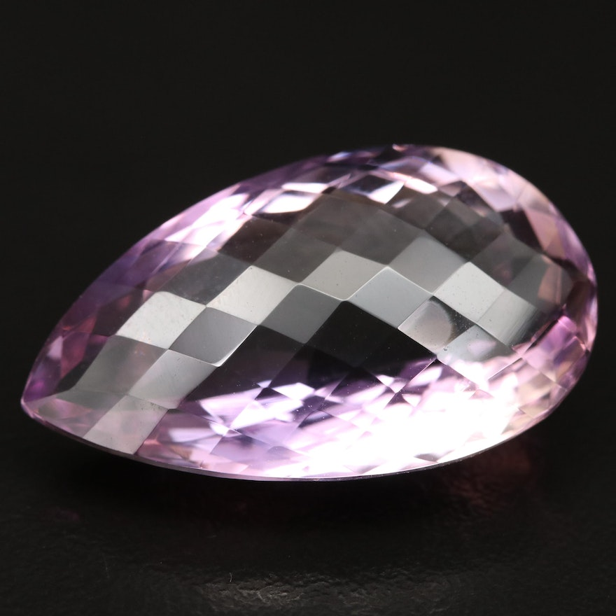 Loose Checkerboard Pear Faceted 31.83 CT Amethyst