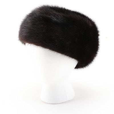 Black/Dark Brown Mink Fur Hat