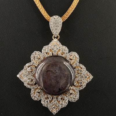 Sterling Corundum and White Sapphire Pendant with Mesh Chain