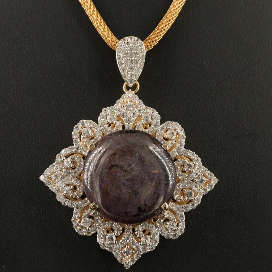 Sterling Corundum and White Sapphire Pendant with Mesh Chain