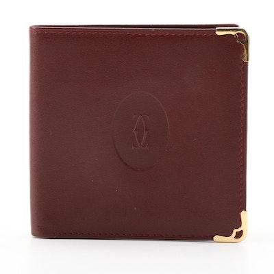Cartier Bifold Wallet in Burgundy Leather, Vintage