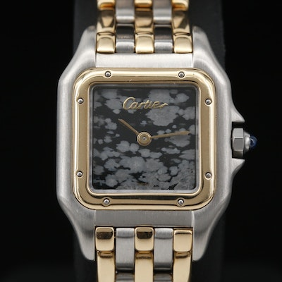 Cartier Panthere Obsidian Dial 18K and Stainless Steel Quartz Wristwatch