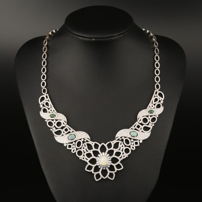 Sterling Opal, Emerald and Cubic Zirconia Bib Necklace