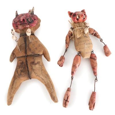 """Debra Klopp Handmade """"Voodoo Pig"""" Art Dolls, 21st Century"""