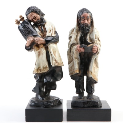"David Klass ""Praying Rabbi"" and ""Pensive Rabbi"" Ceramic Figurines"