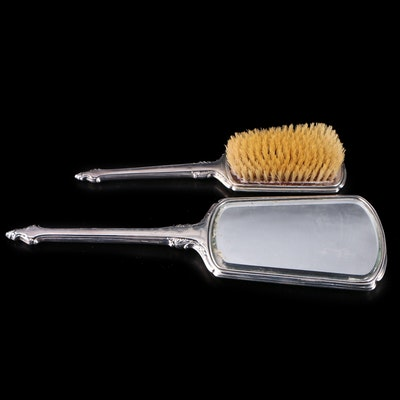 Webster Engine Turned Sterling Silver Hand Mirror and Hair Brush