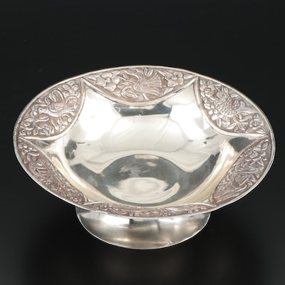 Maciel Repoussé 900 Silver Footed Bowl, Mid-20th Century