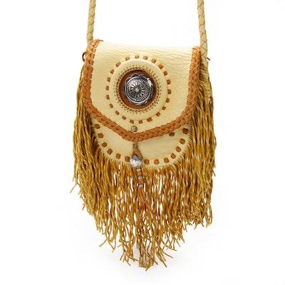 Southwestern Style Fringed Leather Crossbody Bag