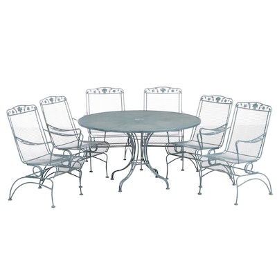 Seven-Piece Painted Iron Patio Dining Set with Foliate Motif