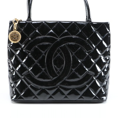 Chanel CC Logo Quilted Black Patent Leather Tote Bag