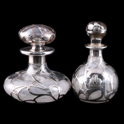 Alvin Art Nouveau Perfume Bottle with Fine Silver Overlay and More