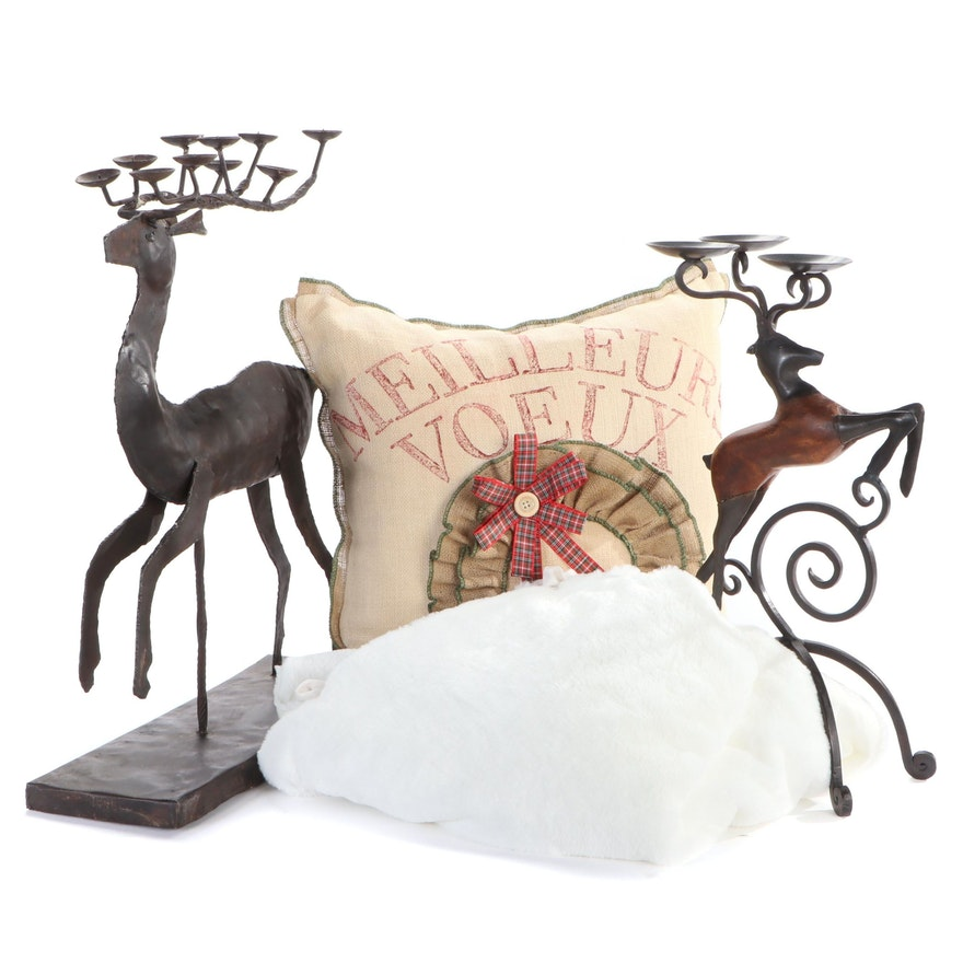 Metal Reindeer Candle Holders and Other Christmas Décor