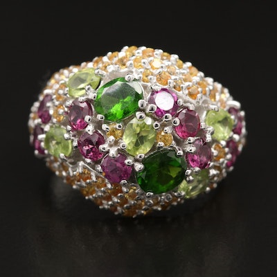 Sterling Silver Diopside, Rhodolite Garnet and Sapphire Domed Cluster Ring