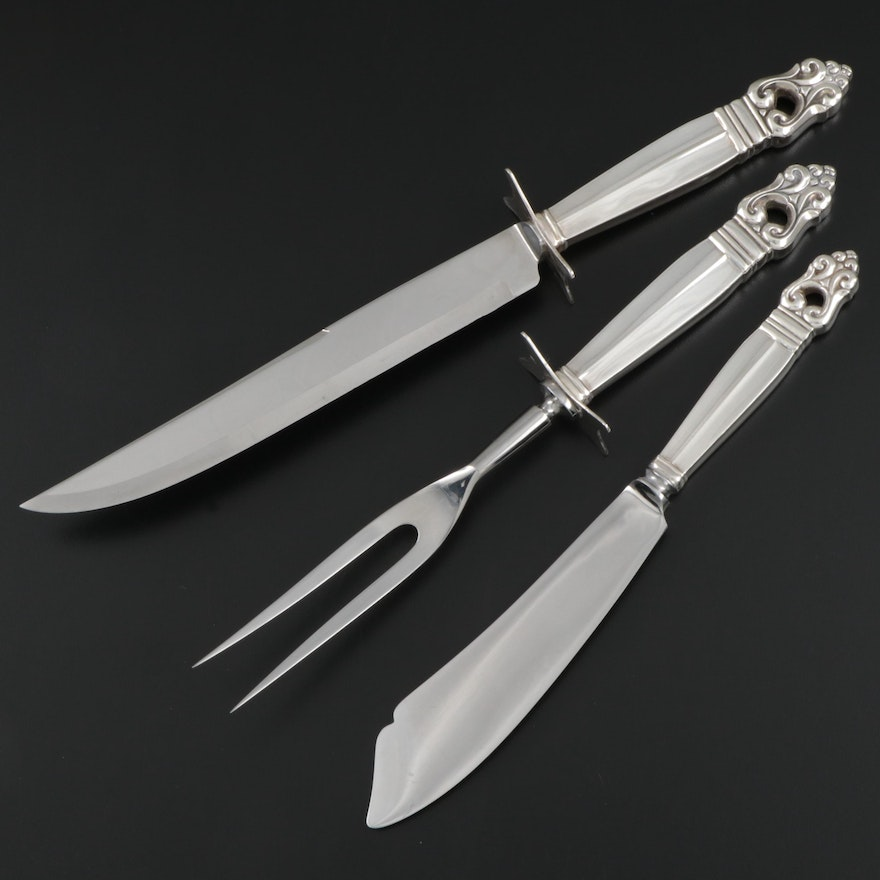 """International Silver """"Royal Danish"""" Sterling Carving Set with Ice Cream Slice"""