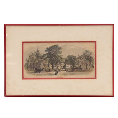 """Hand-Colored Wood Engraving """"College Buildings"""", Late 19th Century"""