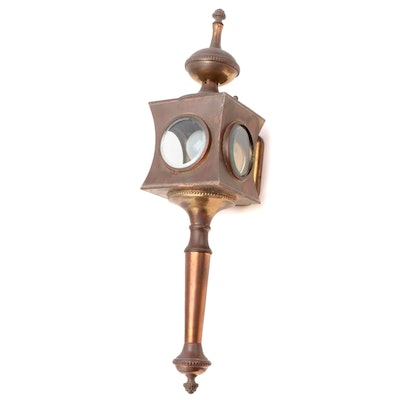 Victorian Copper and Brass Carriage Lamp, Antique
