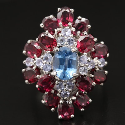 Sterling Kyanite, Garnet and Tanzanite Cluster Ring