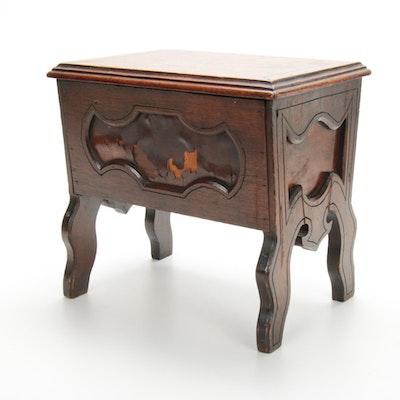 Victorian Walnut Shoe Shine Box, Late 19th Century