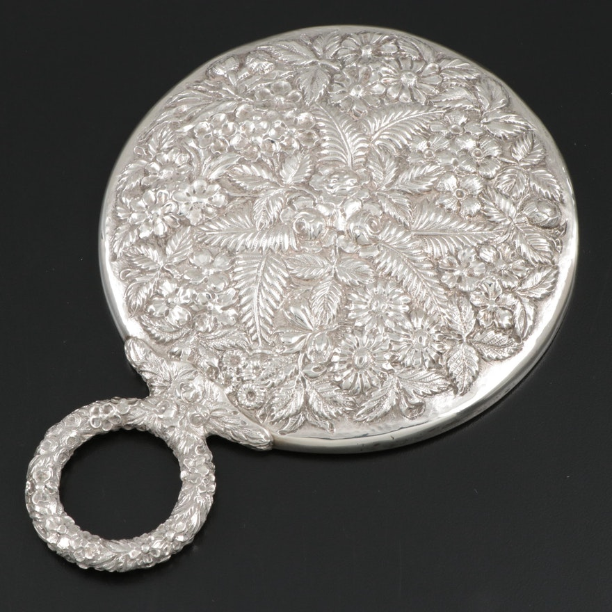 """James R. Armiger """"Repoussé"""" Sterling Silver Hand Mirror, Early 20th Century"""