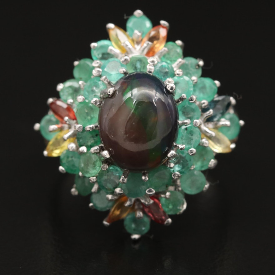 Sterling Opal, Emerald and Sapphire Ring