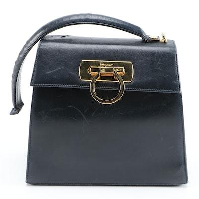 Salvatore Ferragamo Gancini Small Top Handle Bag in Navy Blue Leather