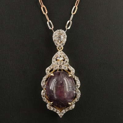 Sterling Corundum and White Sapphire Pendant Necklace