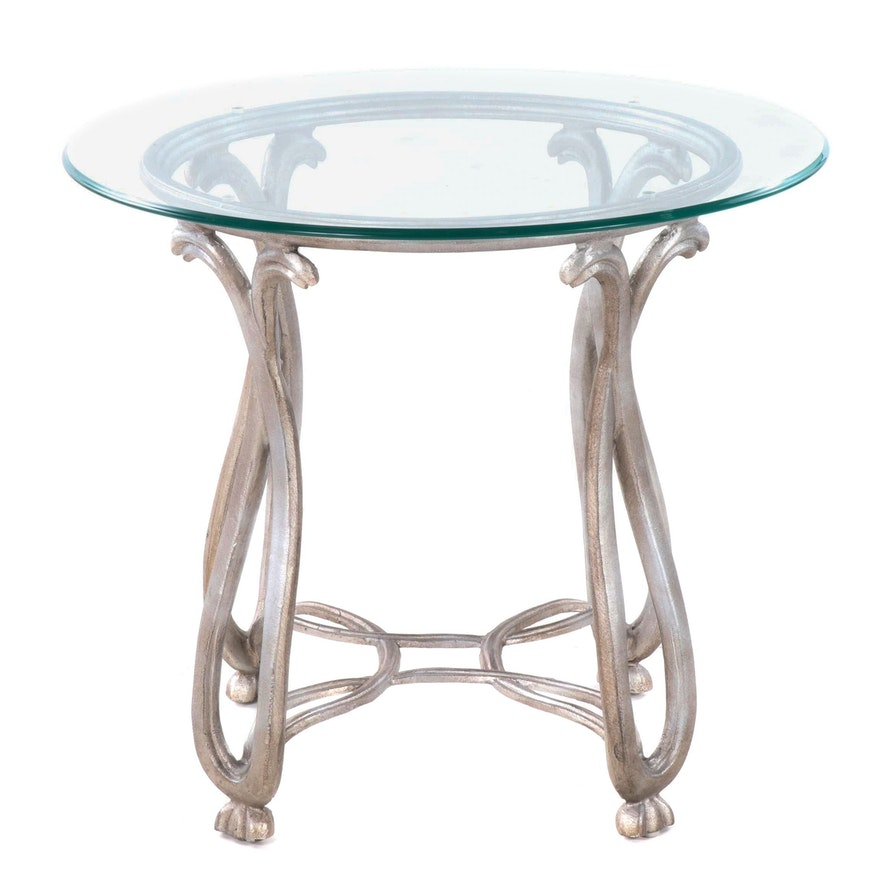 Contemporary Glass Top Scrolled Metal Side Table
