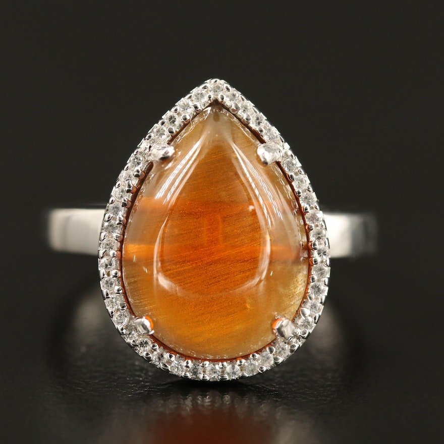 Citrine and White Topaz Ring in Sterling