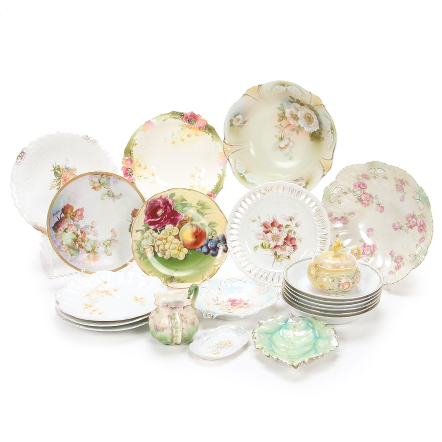 German and Austrian Hand-Painted  Floral Porcelain Dishes, Early to Mid 20th C.