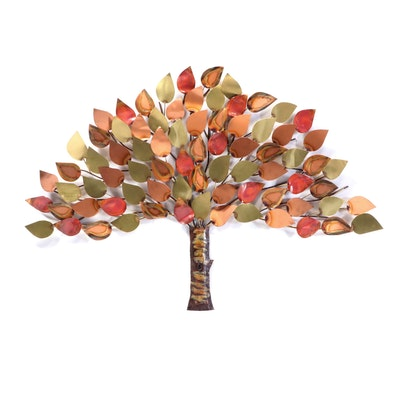 Copper and Brass Tree of Life Wall Sculpture