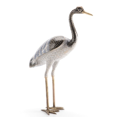Cloisonné Manchurian or Red Crowned Crane Figurine, Late 20th Century
