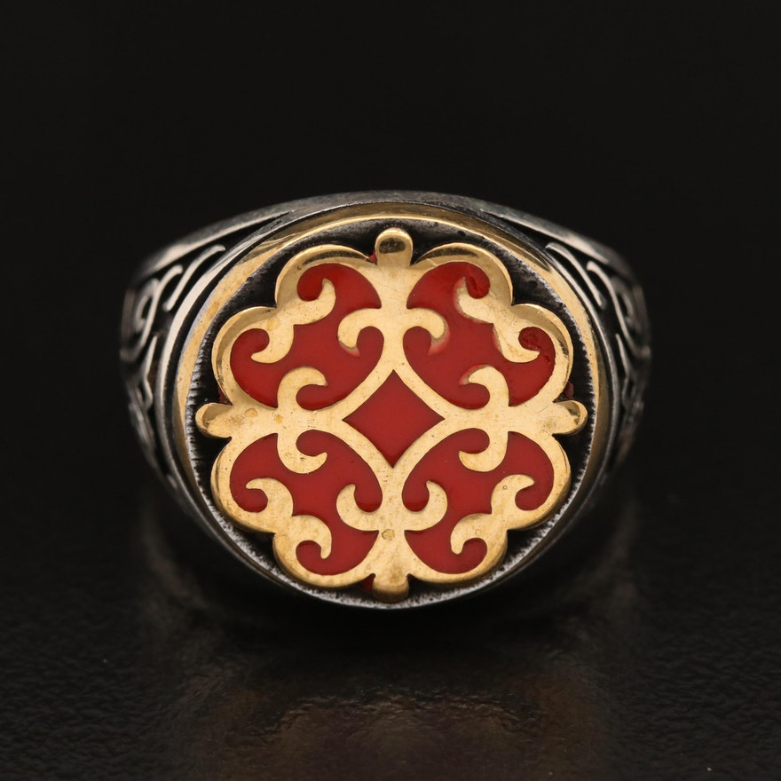 Two Tone Sterling Silver Enamel Ring with Scroll Motif