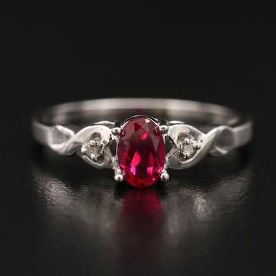 10K Ruby and Diamond Ring with Twist Shoulders