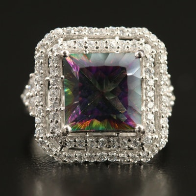 Sterling Mystic Topaz Ring with Double Halo