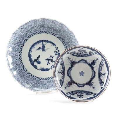 Chinese Blue de Hue Porcelain Charger and Bowl, 19th Century