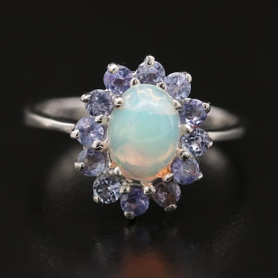 Sterling Opal and Tanzanite Halo Ring