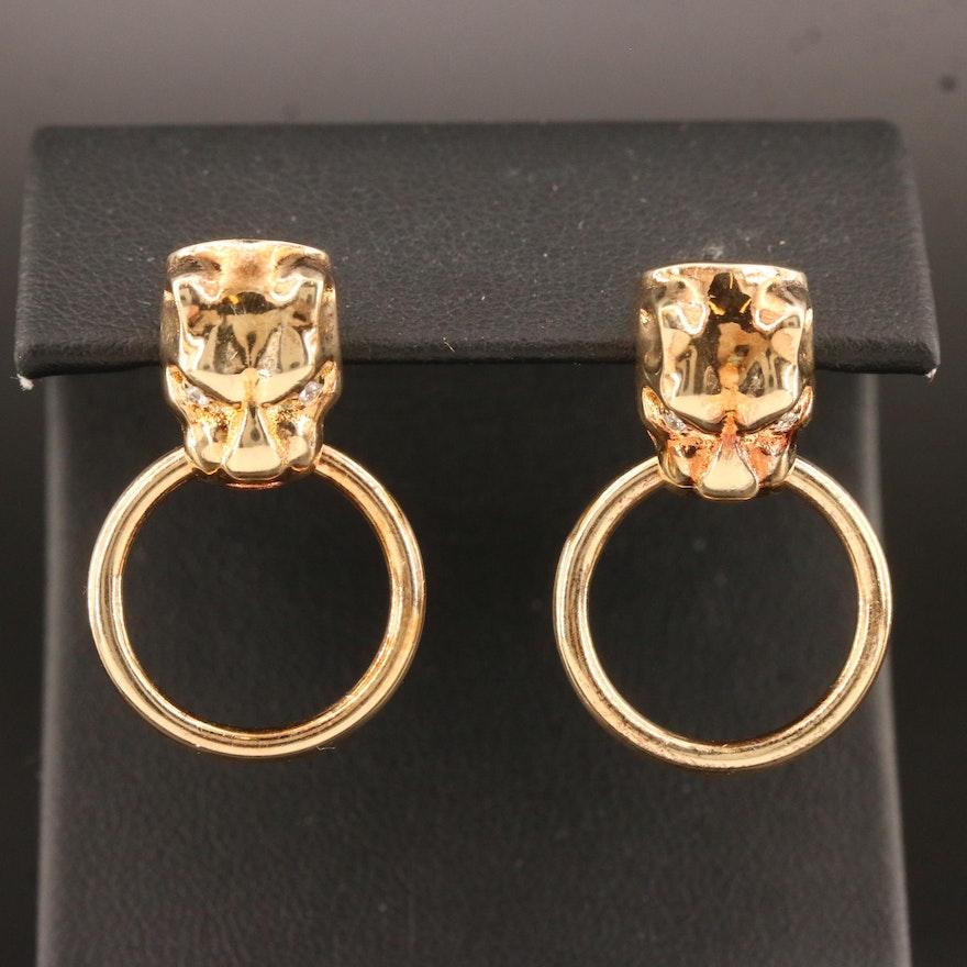 Sterling Silver Cubic Zirconia Door Knocker Motif Earrings