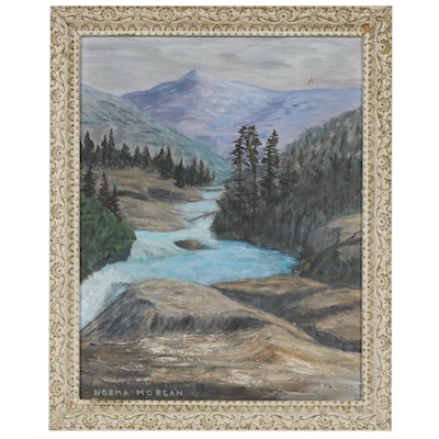 Norma Morgan Oil Painting of Mountain River Rapids, Mid to Late 20th Century