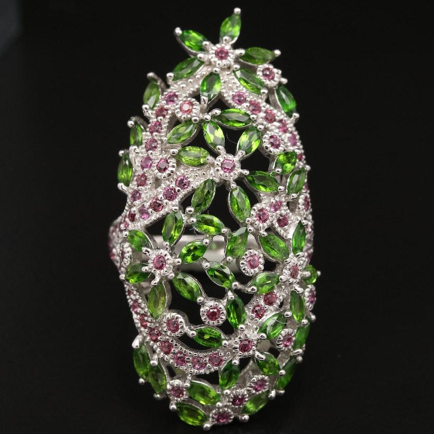 Sterling Diopside and Garnet Floral Motif Ring