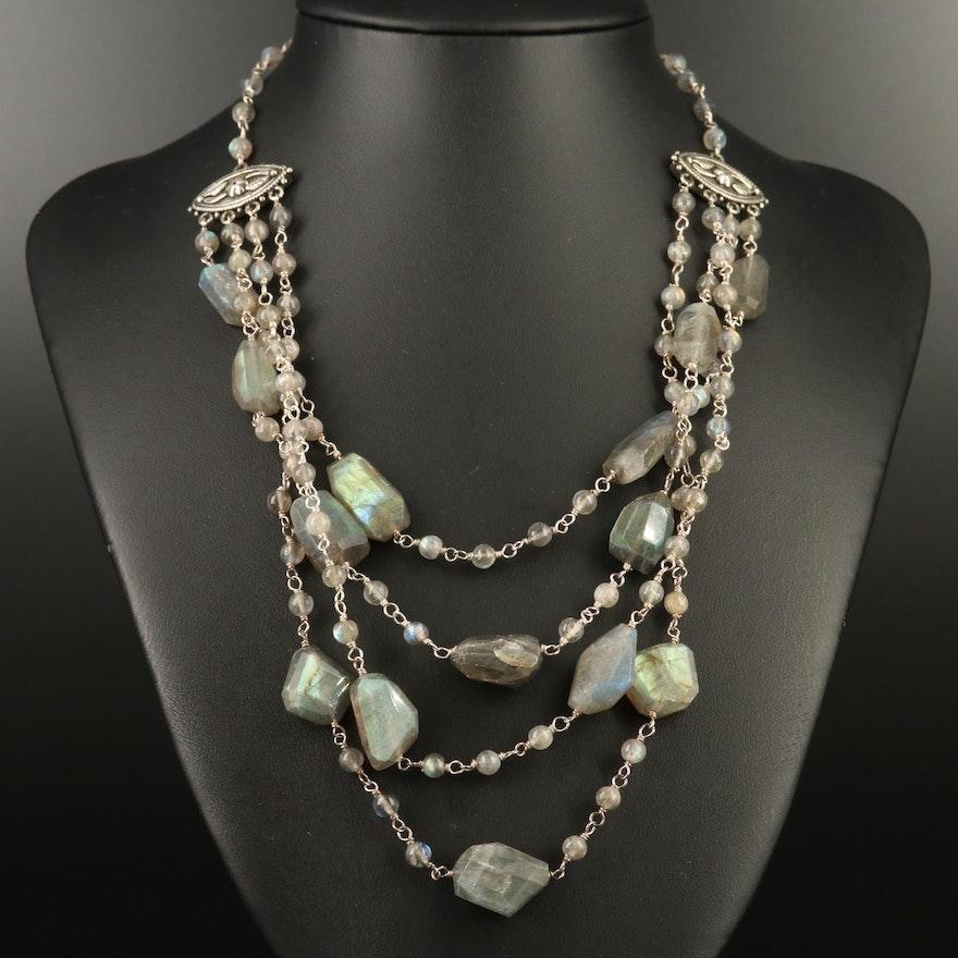 Sterling Silver Multi Strand Labradorite Bib Necklace
