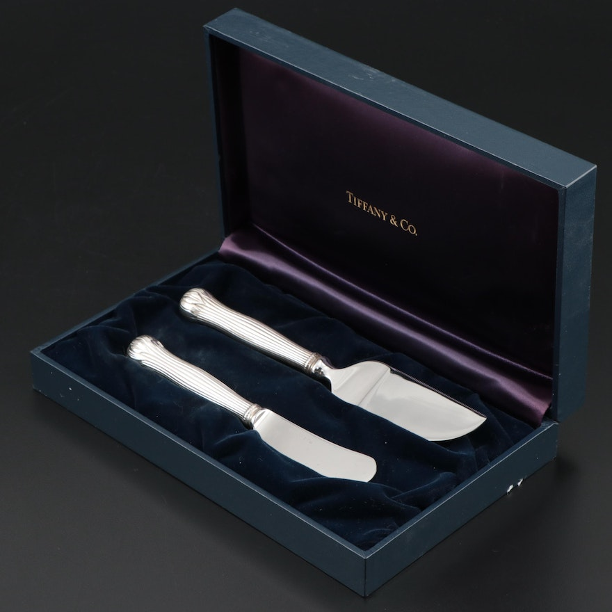 "Tiffany & Co. ""Lotus"" Sterling Silver Handled Cheese Serving Set"