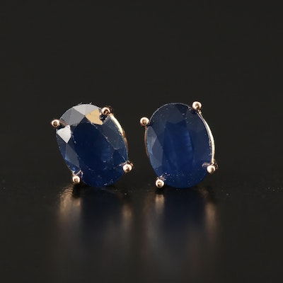 14K Sapphire Oval Stud Earrings
