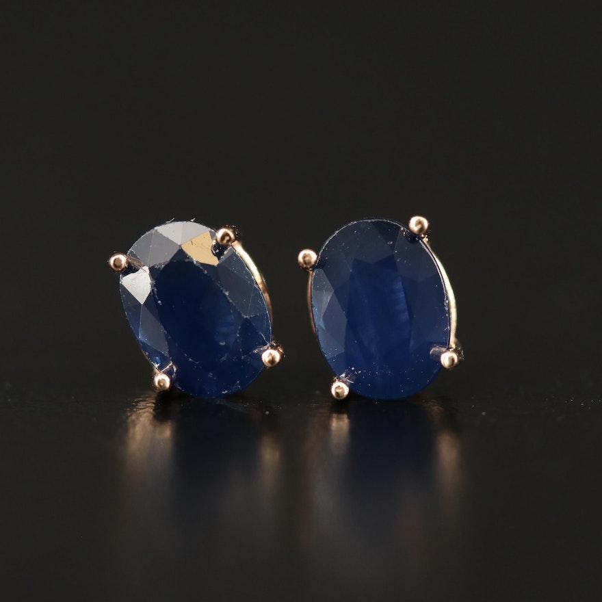 14K Sapphire Oval Stud Earrings